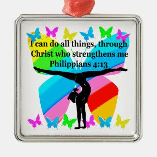 CHRISTIAN GYMNAST INSPIRATIONAL BIBLE DESIGN Silver-Colored SQUARE DECORATION