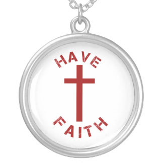 Christian Have Faith Red Cross and Text Design Round Pendant Necklace