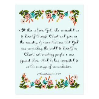 Christian inspirational Art- 2 Corinthians 5:18-19 Postcard