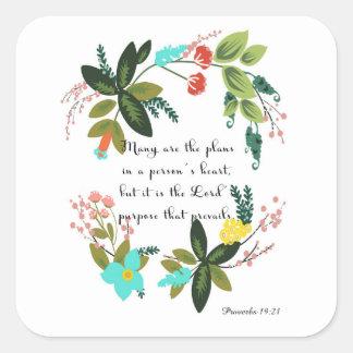 Christian inspirational Art - Proverbs 19:21 Square Sticker