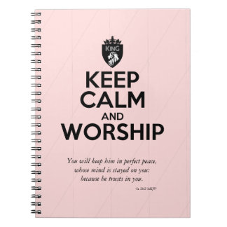 Christian KEEP CALM AND WORSHIP Devotional Notebook