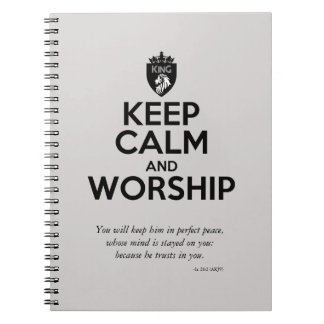 Christian KEEP CALM AND WORSHIP Devotional Spiral Notebook