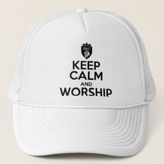 Christian KEEP CALM AND WORSHIP Trucker Hat