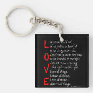 Christian LOVE Verses - Blood of Christ - black - Double-Sided Square Acrylic Key Ring