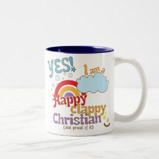Christian mug: Happy Clappy Christian Two-Tone Coffee Mug