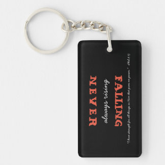 Christian Never Falling Always Rising with Verse Key Ring