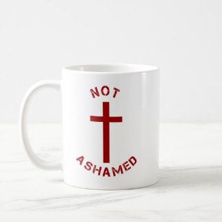 Christian Not Ashamed Red Cross and Bible Verse Coffee Mug