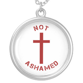 Christian Not Ashamed Red Cross and Text Design Silver Plated Necklace