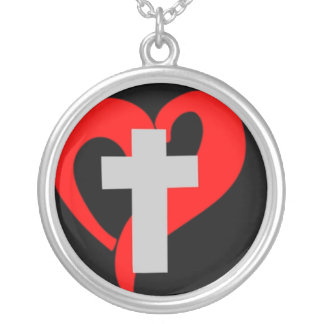 Christian Open Heart (Dark) Round Pendant Necklace