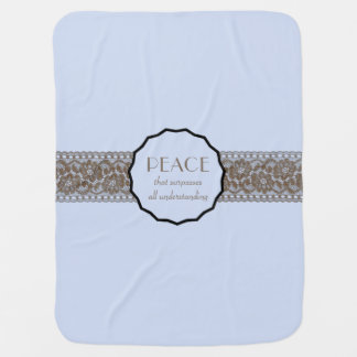 Christian Peace Faux Lace Baby Blanket