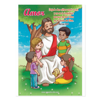 Christian postcard - Jesus and the children