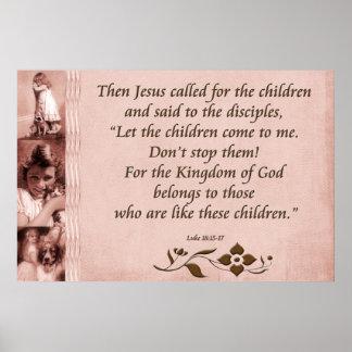 Christian Poster or Print Scripture Luke 18:15-17
