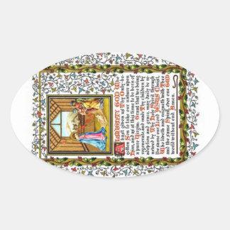 Christian Prayer With Nativity Oval Sticker