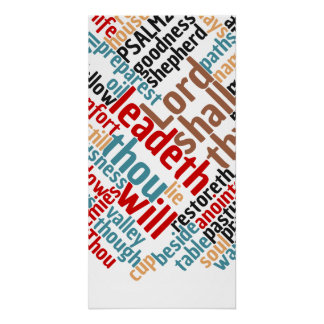 Christian PSALM 23 Colorful Word Art Poster