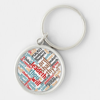 Christian PSALM 23 Colorful Word Art Silver-Colored Round Key Ring