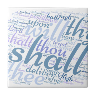 Christian PSALM 91 Small Square Tile