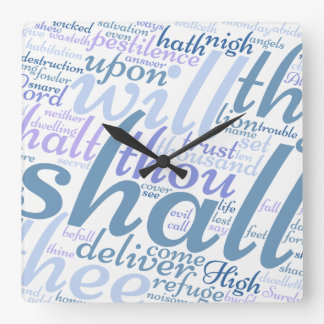 Christian PSALM 91 Square Wall Clock