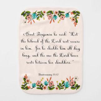 Christian Quote Art - Deuteronomy 33:12 Burp Cloth