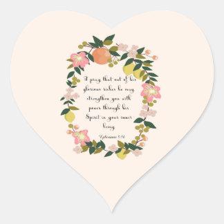 Christian Quote Art - Ephesians 3:16 Heart Sticker
