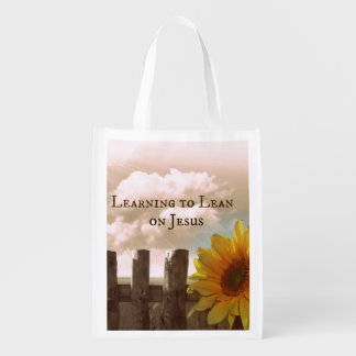 Christian Quote: Learning to Lean on Jesus Reusable Grocery Bag