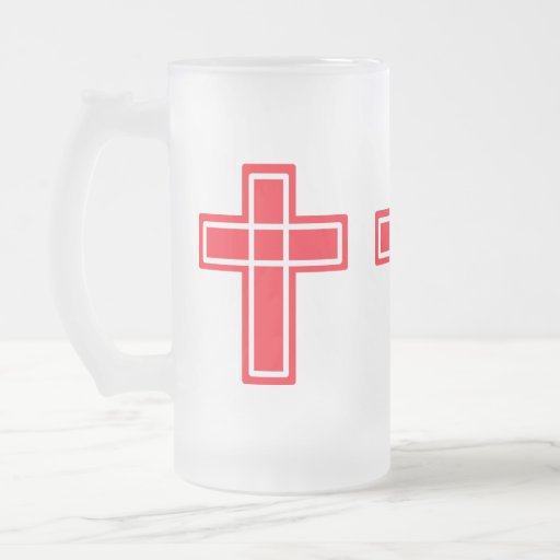 Christian red and white cross frosted mug