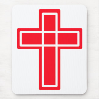 Christian red and white cross mouse pad