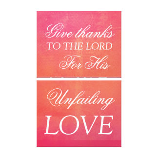 Christian red canvas, give thanks you the Lord Canvas Print