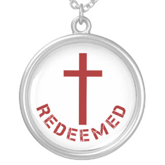 Christian Redeemed Red Cross and Text Design Silver Plated Necklace
