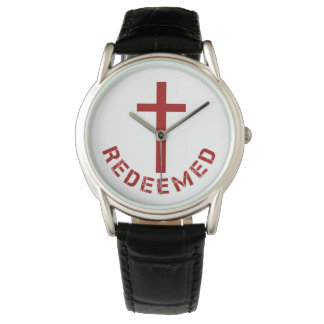 Christian Redeemed Red Cross and Text Design Watch