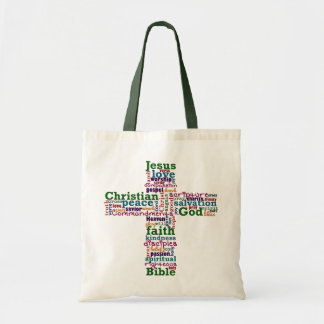 Christian Religious Word Art Cross Budget Tote Bag