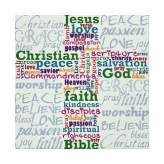 Christian Religious Word Art Cross Gallery Wrapped Canvas