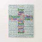 Christian Religious Word Art Cross Jigsaw Puzzle