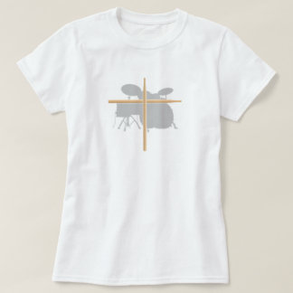 Christian Rock Drummer Drum Stick Cross Ladies T-Shirt