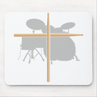Christian Rock Drummer Drum Stick Cross Mousepad