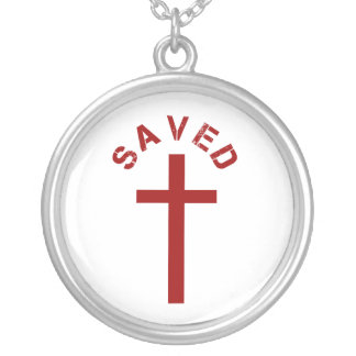 Christian Saved Red Cross and Text Design Round Pendant Necklace
