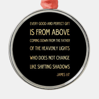 Christian Scriptural Bible Verse - James 1:17 Silver-Colored Round Decoration