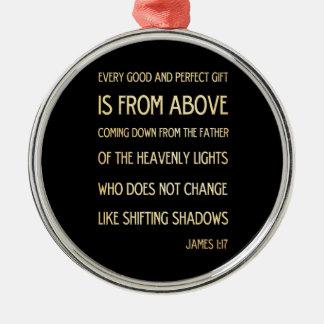 Christian Scriptural Bible Verse - James 1:17 Round Metal Christmas Ornament