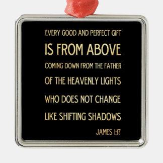 Christian Scriptural Bible Verse - James 1:17 Silver-Colored Square Decoration
