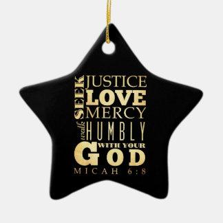 Christian Scriptural Bible Verse - Micah 6:8 Christmas Tree Ornaments