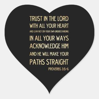 Christian Scriptural Bible Verse - Proverbs 3:5-6 Heart Sticker