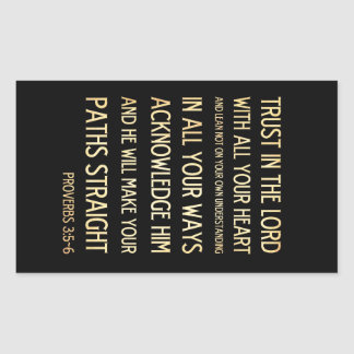 Christian Scriptural Bible Verse - Proverbs 3:5-6 Rectangular Sticker