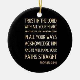 Christian Scriptural Bible Verse - Proverbs 3:5-6 Round Ceramic Decoration