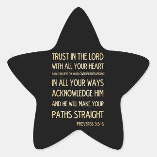 Christian Scriptural Bible Verse - Proverbs 3:5-6 Star Sticker