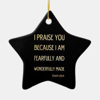 Christian Scriptural Bible Verse - Psalm 134:19 Ceramic Star Decoration