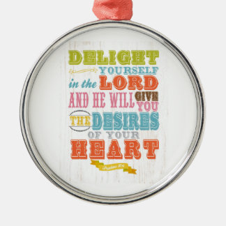 Christian Scriptural Bible Verse - Psalm 37:4 Silver-Colored Round Decoration