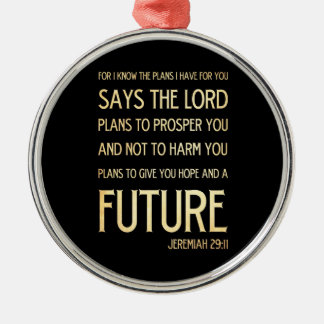 Christian Scripture Bible Verse Art Jeremiah 29:11 Silver-Colored Round Decoration