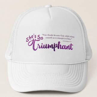 Christian She's So Triumphant with Scripture Trucker Hat