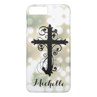 Christian Swirling Cross Personalized iPhone 7 Plus Case