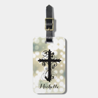 Christian Swirling Cross Personalized Luggage Tag