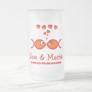 Christian Valentine Symbols - Orange v1 Frosted Glass Beer Mug